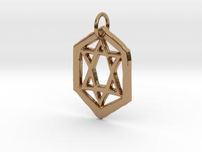 Jewish Star Keychain in Polished Brass