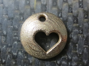 Pluto's Heart Pendant in Polished Bronzed Silver Steel