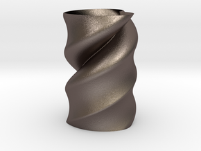Twisted Heart Vase  in Polished Bronzed Silver Steel