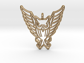 Tribal Owl Pendant in Polished Gold Steel