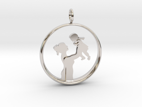 Mother & Daughter Pendant 1 -Motherhood Collection in Rhodium Plated Brass