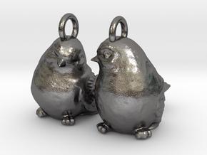 Birds Earrings in Polished Nickel Steel