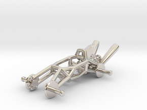 BajaRacer V1: Part 1 in set of 3 - Metal Frame in Rhodium Plated Brass