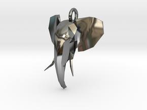 Elephant Head in Fine Detail Polished Silver