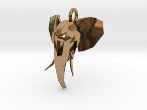 Elephant Head in Polished Brass