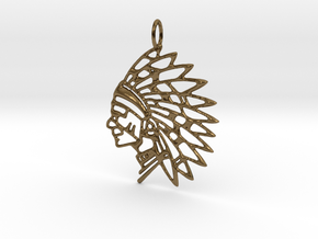 Tribal Chief Pendant in Polished Bronze
