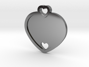 Heart Key Chain (Customizable) in Fine Detail Polished Silver