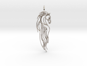 Rohan Horse Pendant in Rhodium Plated Brass