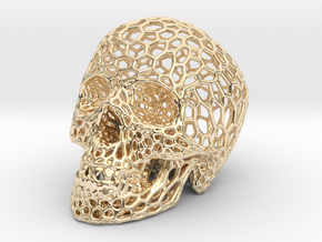 Human skull skeleton perforated sculpture in 14K Yellow Gold