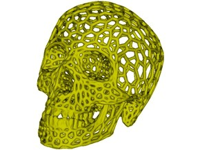 Human skull skeleton perforated sculpture in White Processed Versatile Plastic