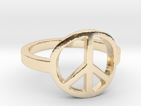 Peace Ring Size 5.5 in 14k Gold Plated Brass: 5.5 / 50.25