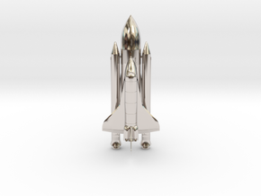 Space+Shuttle+Atlantis+3 in Rhodium Plated Brass