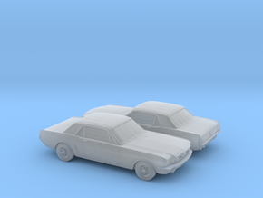 1/148 2X 1964 Ford Mustang GT in Smooth Fine Detail Plastic