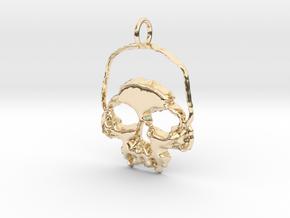 Skull Light Pendant in 14K Yellow Gold