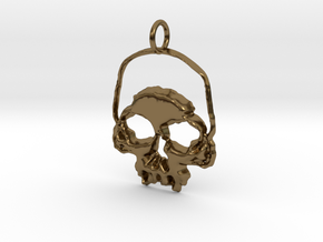 Skull Light Pendant in Polished Bronze