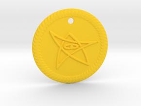 Elder Sign Pendant Alfa small in Yellow Processed Versatile Plastic