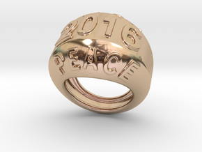 2016 Ring Of Peace 14 - Italian Size 14 in 14k Rose Gold Plated Brass