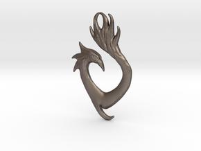 Phoenix Heart Pendant in Polished Bronzed Silver Steel