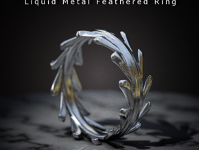 Liquid Metal Feathered Ring in Stainless Steel