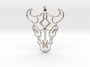 Animal Skull Pendant in Rhodium Plated Brass