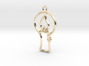 Christmas Candle Pendant in 14k Gold Plated Brass