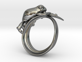 Frog ring 15mm in Polished Silver