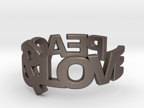 Peace&Love ring Size7 in Polished Bronzed Silver Steel