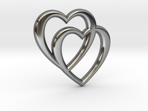 Double Heart Necklace in Fine Detail Polished Silver
