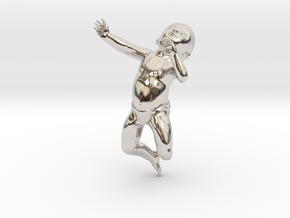 3D Crawling Baby in Rhodium Plated Brass