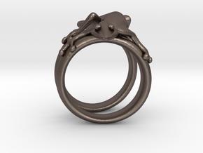 Gekko Ring in Polished Bronzed Silver Steel