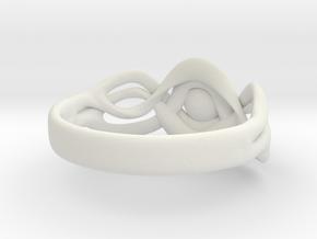 Curvy Ring in White Natural Versatile Plastic