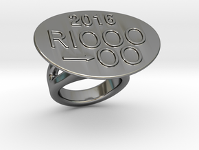 Rio 2016 Ring 17 - Italian Size 17 in Fine Detail Polished Silver