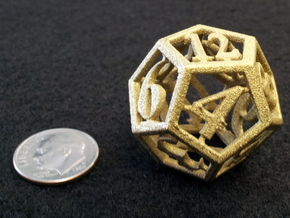 12 Sided Die in White Strong & Flexible