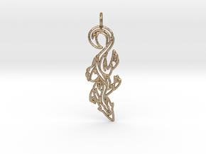 Lizard Pendant in Polished Gold Steel