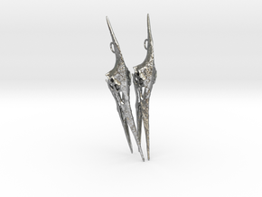 Pteranodon Skull Earring Pair in Natural Silver