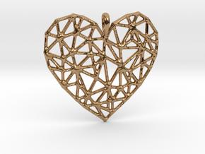 Triangular Geometric Grid Heart Pendant in Polished Brass
