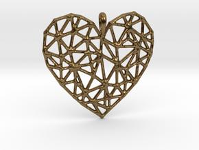 Triangular Geometric Grid Heart Pendant in Polished Bronze