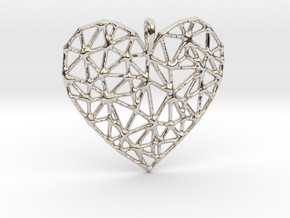 Triangular Geometric Grid Heart Pendant in Rhodium Plated Brass