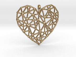 Triangular Geometric Grid Heart Pendant in Polished Gold Steel