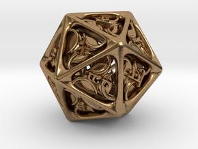 Tengwar Elvish D20 in Raw Brass: Small
