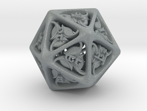 Tengwar Elvish D20 in Polished Metallic Plastic