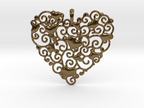 Ornamental Heart Pendant in Polished Bronze