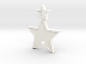 Star Pendant (Customizable) in White Processed Versatile Plastic