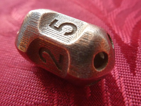 Five sided 'pepperpot' dice in Polished Bronzed Silver Steel