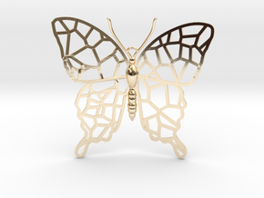 Butterfly Voroni Pendant in 14K Yellow Gold