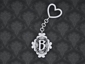 B Keychain Art Nouveau  in White Strong & Flexible