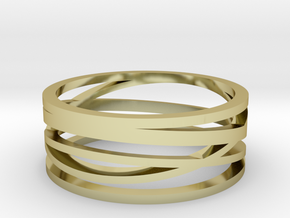 Abstract Lines Ring - US Size 11 in 18k Gold Plated Brass