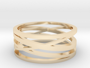 Abstract Lines Ring - US Size 10 in 14K Yellow Gold