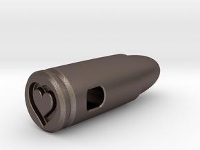 9mm Bullet Of Love Pendant, Steel in Polished Bronzed Silver Steel