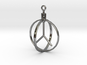 Peace Pendant (Spinning center) in Fine Detail Polished Silver